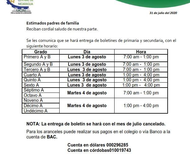 Calendario de entrega de Boletines