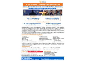 VI Conferencia Mundial de Texila para Estudiantes 2019