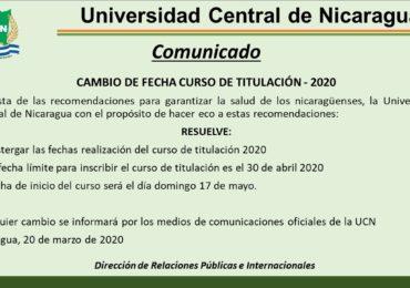 COMUNICADO CAMBIO DE CURSOS DE TITULACIÓN