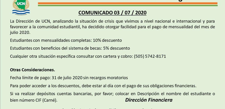 Comunicado atención de dirección financiera
