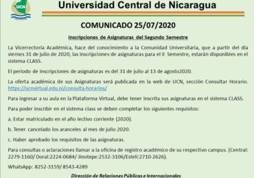 Comunicado inicio de inscripciones II semestre 2020