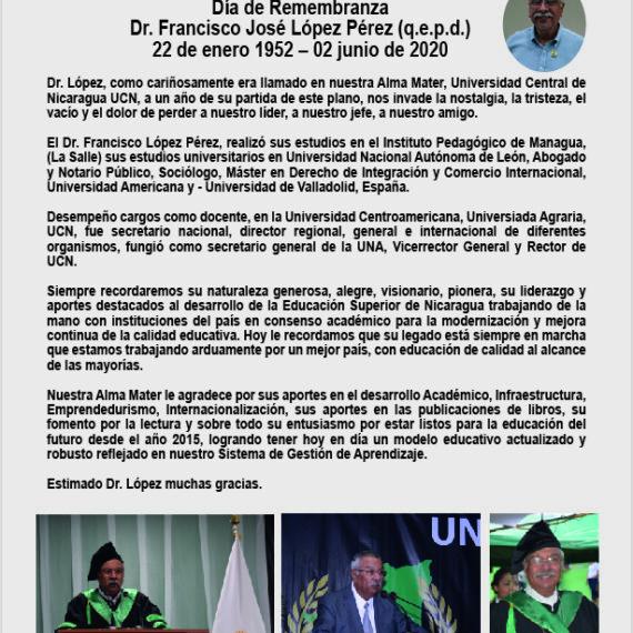Día de Remembranza Dr. Francisco José López Pérez (q.e.p.d.) 22 de enero 1952 – 02 junio de 2020