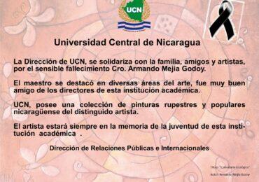 Pésame por fallecimiento del destacado artista Armando Mejía Godoy